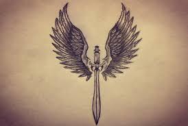 black ink samurai sword with wings tattoo design
