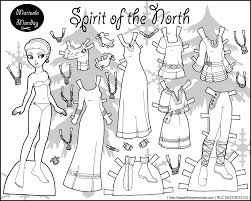 spirit of the north black and white printable paper doll