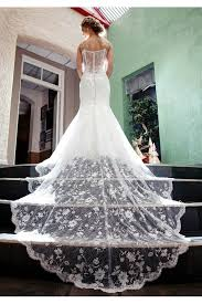 wedding dress sheer straps lace spaghetti straps chapel white sheer trumpet mermaid