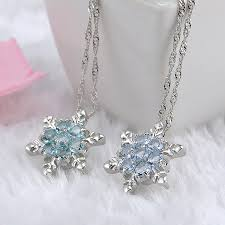 flower silver necklace images 2018 cute vintage blue crystal snow flake flower silver necklaces jpg