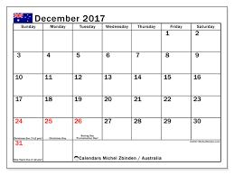 calendar december 2017 australia