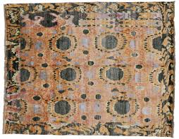 Hand Knotted Rugs India Ikat Hand Knotted Wool Area Rug From India 7 U0027 11