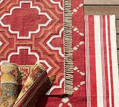 Recycled Outdoor Rugs Borden Tile Recycled Yarn Indoor Outdoor Rug Red Pottery Barn