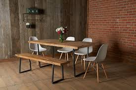 reclaimed wood wall table modern reclaimed wood dining table and bench white chairs natural