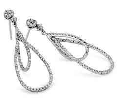 teardrop diamond earrings duet teardrop diamond earrings in 18k white gold 1 ct tw