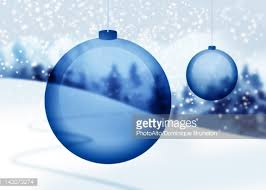 Blue Christmas Decorations Background by Transparent Blue Christmas Ornaments With Snowy Countryside In