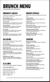 menu for brunch restaurant brunch menu letter breakfast menus