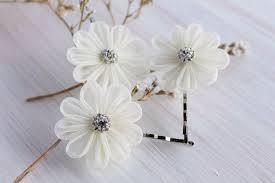 kanzashi hair pin ivory bridal hair pins small hair wedding bobby pins