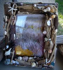 coastal home decor driftwood and sea shell picture frame