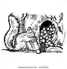 squirrel storing nuts hollow knot tree stock vector 414491284