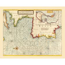 Map Of Spain And France by Old Nautical Map Of The Atlantic Coast For Wall Decor