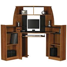 wood and metal corner computer desk with bookshelves cabinet which