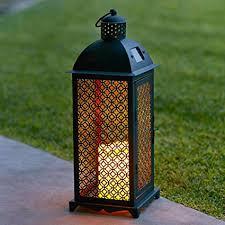 bougie jardin lanterne solaire marocaine en métal avec bougie led pour jardin