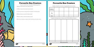 favourite sea creature tally chart and graph worksheets sea