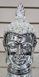 Decorative Buddha Head 25cm Silver Chrome U0026 White Sparkle Decorative Buddha Head Ornament