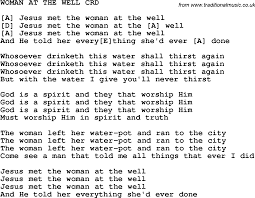 christian childrens song at the well lyrics and chords