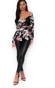 black wrap blouse lilly floral wrap blouse in black ikrush