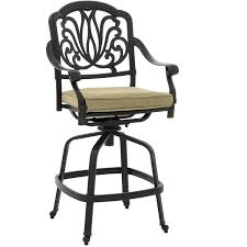 rosedown cast aluminum patio counter height swivel bar stool by