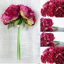 cheap silk flowers cheap artificial peony silk flowers bridal bouquet