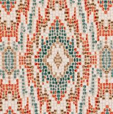 a unique ikat upholstery fabric with a mosaic design of teal