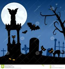 halloween cats background necropolis with black cats and bats stock image image 34282861