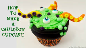 how to make halloween cake decorations how to make a cauldron cupcake for halloween she who bakes