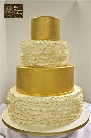 wedding cake gold purple ruffle cake the hudson cakery
