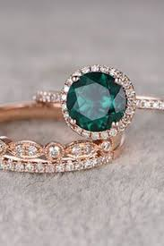 diamond rings gemstones images 3pcs emerald engagement ring set 14k rose gold diamond wedding jpg