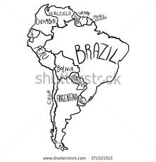 map of and south america black and white map south america stock vector 371521012