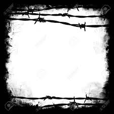 barbed wire black square frame border with white blank middle
