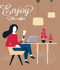 on break sign for desk break time banner woman drinking coffee icon free vector in adobe