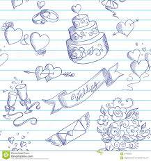 Wedding Design Wedding Seamless Romantic Background With Cartoon Elements Stock
