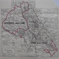 map of newcastle lyme staffordshire antique parliamentary constituency map frontispiece