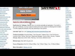 safeway job application youtube