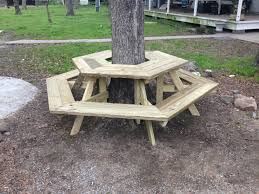 Interesting Octagon Picnic Tables Plans And 7 Best Home by The Picnic Table Around A Tree I Built Today Diy Pinterest