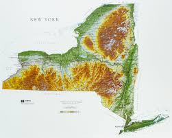 map of new your new york state raised relief map