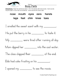 body parts worksheet fill in the blanks