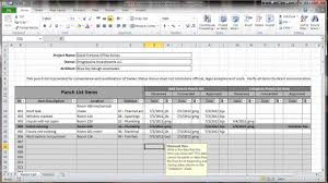 Construction Punch List Template Excel Excel 2010 Construction Punch List Overview