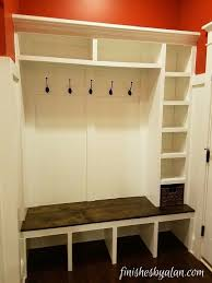 beautiful mudroom bench with upper lower and side cubbies the