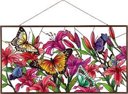 panel apm208r butterflies lilies joan baker designs