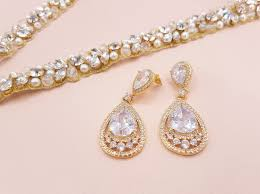 drop earrings wedding bridal drop earrings pear cubic zirconia dangle earrings bridal