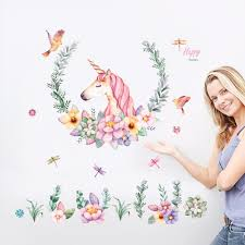 compare prices on glass door wallpaper online shopping buy low flower wreath unicorn wall stickers girl baby room decor wallpaper poster window glass door succulent dragonfly
