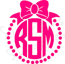 bow monogram items similar to bow circle frame monogram on etsy
