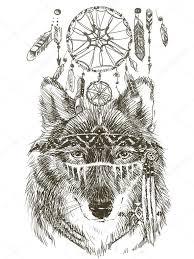 wolf wolf indian warrior wolf sketch indian wolf hand drawn