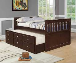 Full Bed With Trundle Mission Full Size Captains Trundle Bed Cappuccino Bedroom
