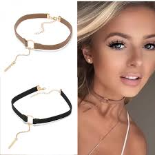 collar necklace leather images Fashion 4 colors leather choker necklace gold plated geometry with jpeg