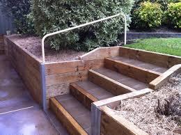 Backyard Retaining Walls Ideas by Wood Retaining Walls With Stairs Beam Timber Retaining Wall And