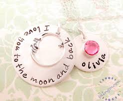 Personalized Sterling Silver Necklace Hand Stamped Jewelry For Mothers I Love You To The Moon And Back