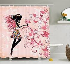 Pink Black And White Shower Curtain Amazon Com Girls Shower Curtain Fairy Decor By Ambesonne Pink