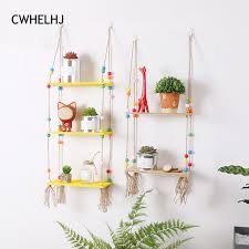 shelves for kids room nordic colorful beads wall wooden hemp rope wood shelves hanging